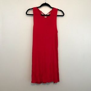 Soft Solid Red Lace Up Back Tank Swing Dress